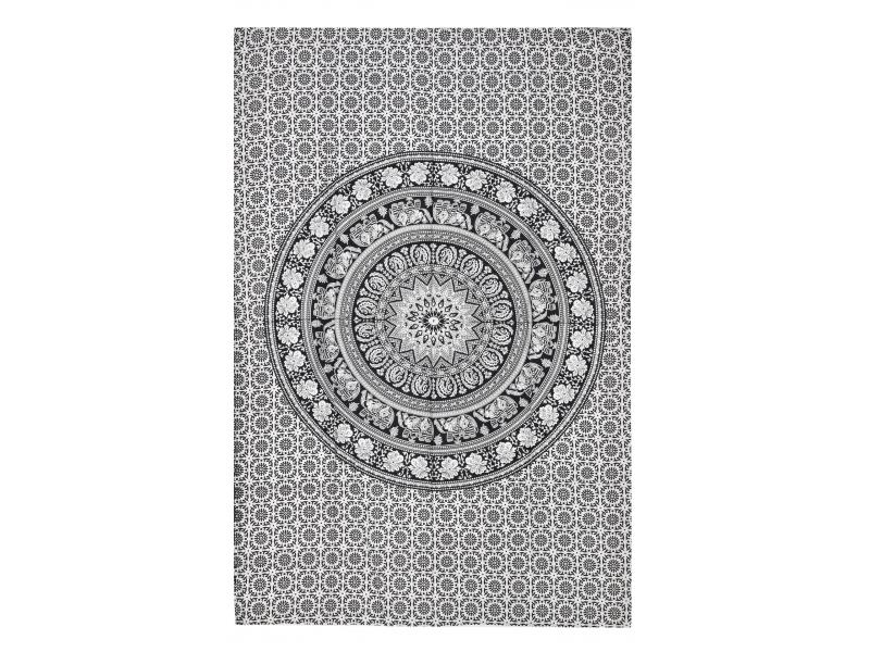 Přehoz s tiskem, sloní mandala, 150x210cm