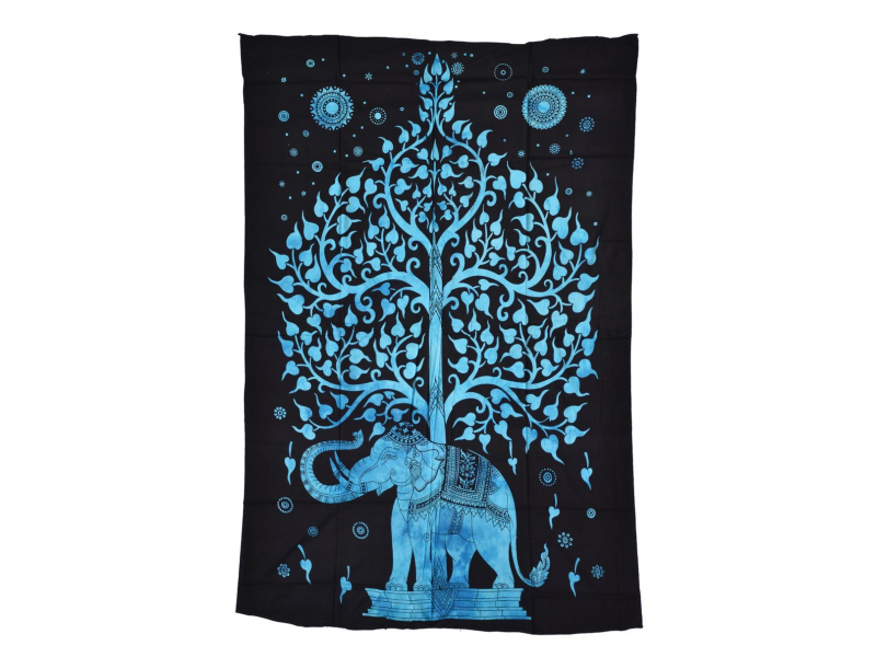 Přehoz s tiskem, slon se stomem života, 200x140cm