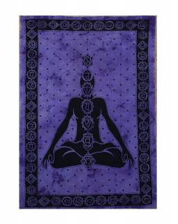 Přehoz s tiskem, čakry Yoga, fialová batika, 200x134cm