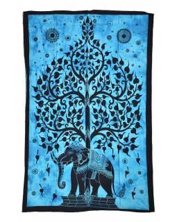 Přehoz s tiskem, slon se stromem života, 200x140cm