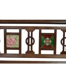 Lavice z antik teakového dřeva vykládaná dlaždičkami, 183x83x98cm