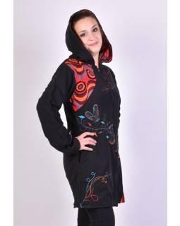 Černo-červený oboustranný fleecový dámský kabátek s kapucí zapínaný na zip, Butt