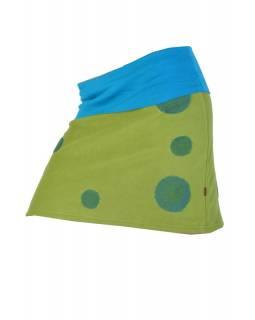 Krátká zelená sukně s tyrkysovými aplikacemi
