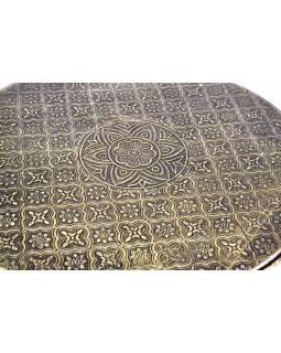 Čajový stolek z mangového dřeva zdobený mosazným kováním, 37x37x15cm