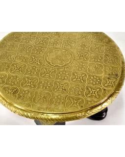 Čajový stolek z mangového dřeva zdobený mosazným kováním, 25x25x15cm