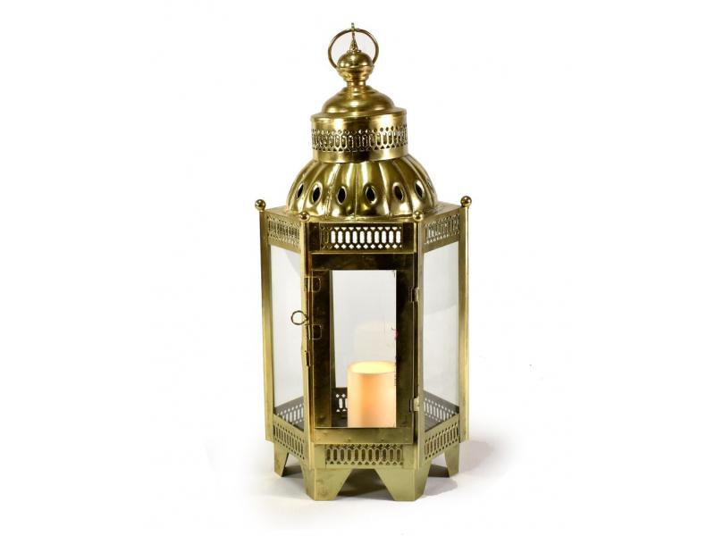Kovová lucerna, mosazná barva, 26x26x58cm