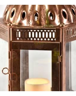 Kovová lucerna, měděná barva, 26x26x53cm