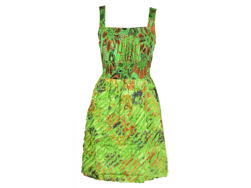 Krátké zelené šaty na ramínka, květinový potisk, žabičkování