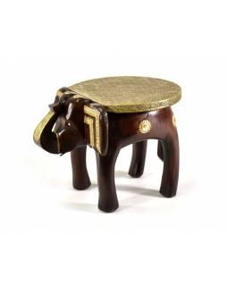 Stolička ve tvaru slona zdobená mosazným kováním, 35x26x25cm