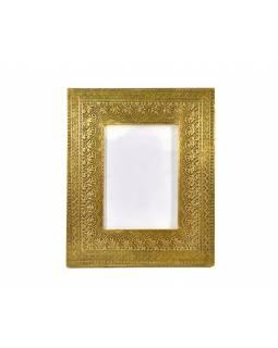 Dřevěný rámeček na fotografii, mosazné kování, 23x28cm