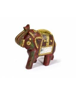 Slon, dřevěný, zdobený zlatým kovem, červený, 12x12cm