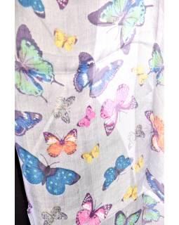 Hedvábný šál s motivem motýlů, modrý, 180x50cm