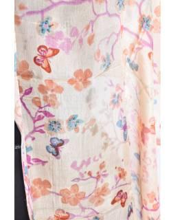 Hedvábný šál s motivem květin, meruňkový, 180x50cm