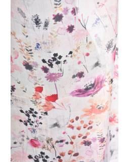Hedvábný šál s motivem květin, růžový, 180x50cm
