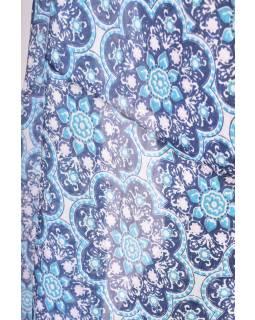 Hedvábný šál s motivem květin, modrý, 180x50cm
