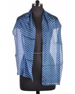 Hedvábný šál s motivem, tmavě modrý puntík, 180x35cm