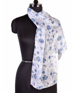 Hedvábný šál s motivem, modrý motiv, 180x35cm
