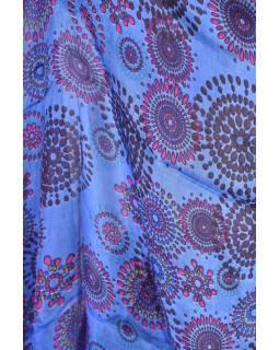 Hedvábný šátek s motivem, modrý, 170x105cm