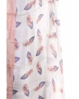 Hedvábný šátek s motivem pírek, meruňkový, 170x105cm