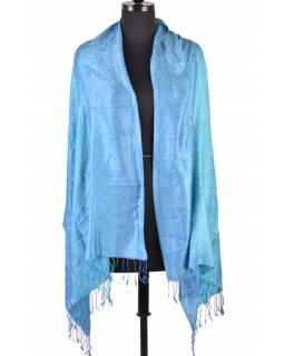 Luxusní šál s třásněmi, modrý, 180x70cm