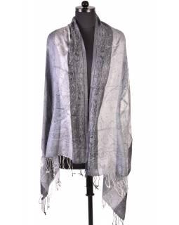 Luxusní šál s třásněmi, šedá, 180x70cm