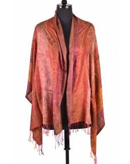 Luxusní šál s třásněmi, červená, 180x70cm