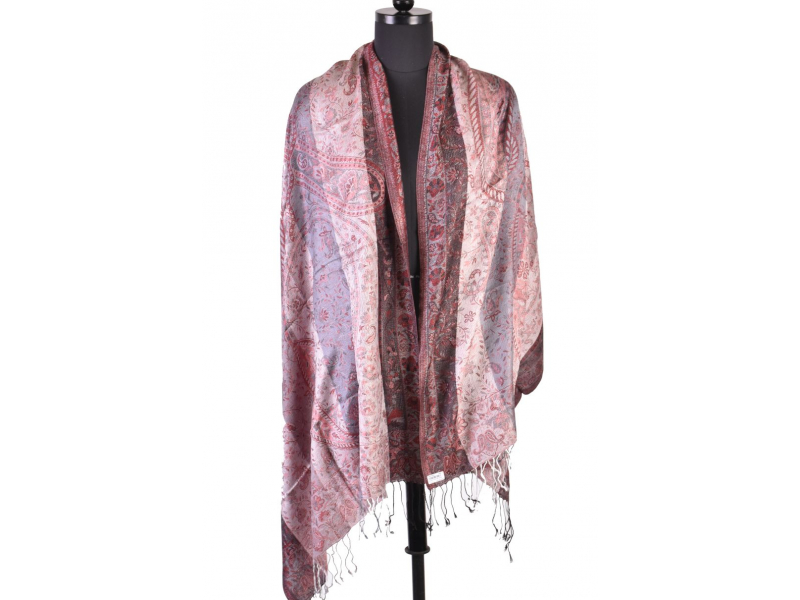 Luxusní šál s třásněmi, šedo-červená, 180x70cm