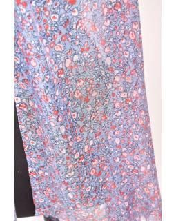 Velký šátek s třásněmi, květovaný motiv, modrá, 180x220cm