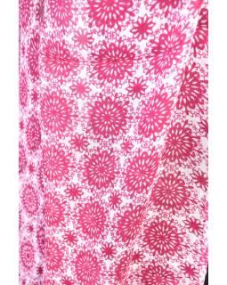 Velký šátek s třásněmi, květovaný motiv, vínová, 180x220cm