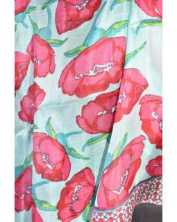 Hedvábný šál s motivem květin,100x100cm