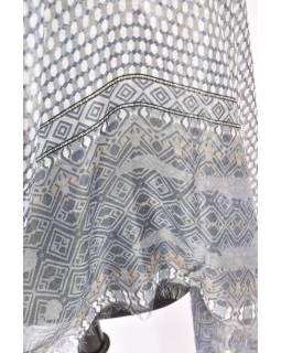 Velký šátek s motivem, šedá, 180x110cm