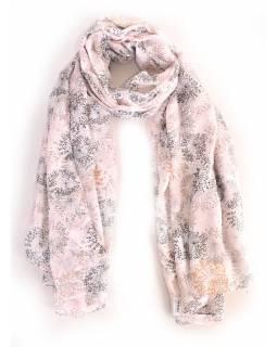 Velký šátek s motivem, bílá, 180x110cm