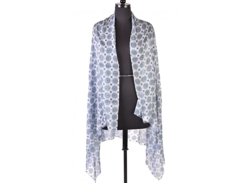 Velký šátek s motivem, modrá, 180x110cm