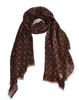 Velký šátek s motivem, černá, 180x110cm