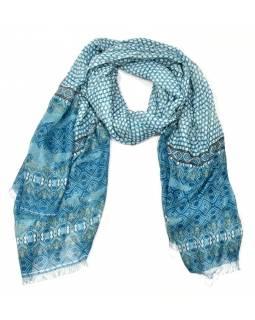 Velký šátek s motivem, tyrkysová, 180x110cm