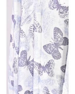 Velký šátek s motivem motýlů, modrá, 220x180cm