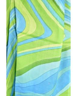 Velký šátek s motivem, modro-zelená, 170x110cm