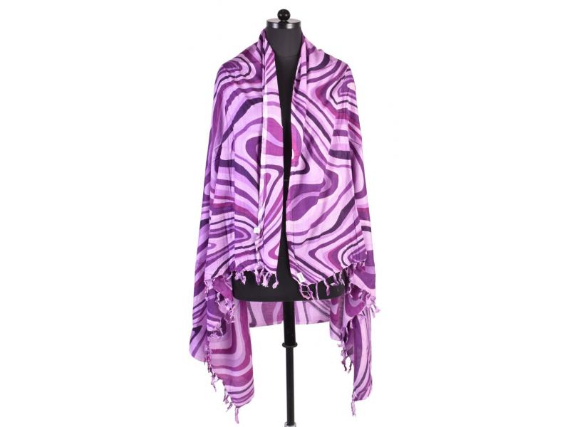 Velký šátek s motivem, fialová, 170x110cm