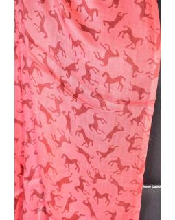 Velký šátek s motivem, červená, 140x180cm