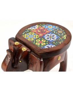 Mini stolička ve tvaru slona zdobená keramickými dlaždicemi, 27x18x20cm