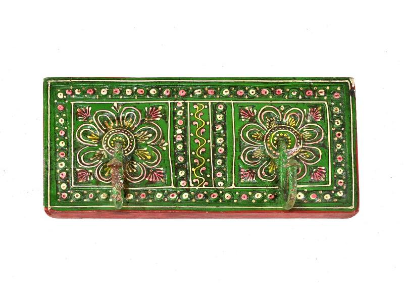Ručně malovaný dřevěný věšáček, 2 háčky, zelená, 22x5x10cm