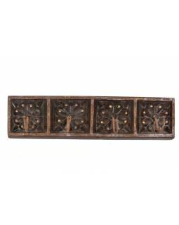 Vyřezávaný dřevěný věšáček, 4 háčky, 45x6x11cm