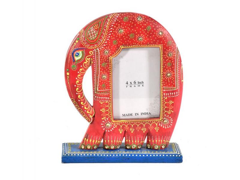 Ručně malovaný dřevěný rámeček na fotografii ve tvaru slona, červená, 23x7x29cm