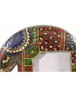 Ručně malovaný dřevěný rámeček na fotografii ve tvaru slona, hnědá, 23x7x29cm