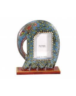Ručně malovaný dřevěný rámeček na fotografii ve tvaru slona, modrá, 23x7x29cm