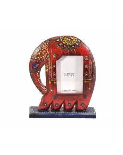 Ručně malovaný dřevěný rámeček na fotografii ve tvaru slona, vínová, 23x7x29cm
