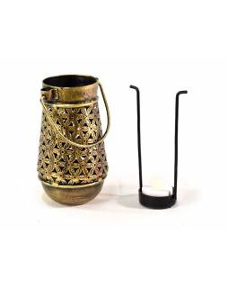 Kovový ručně tepaný svícen na čajovou svíčku, 9x15cm