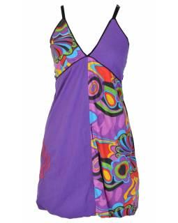 """Šaty, krátké, na ramínka, """"Flower design"""", fialové, žabičkování"""