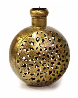 Kovový ručně tepaný svícen na čajovou svíčku, 30x23x37cm