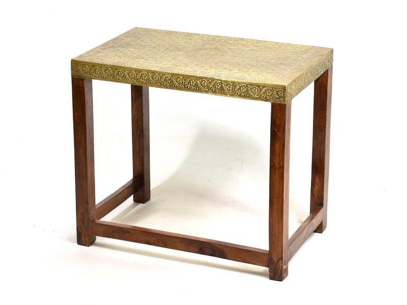 Stolička z palisandrového dřeva zdobená mosazným kováním, 60x35x52cm